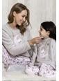 Lingabooms Bulutlu Kadın 2'li Pijama Takım  Gri